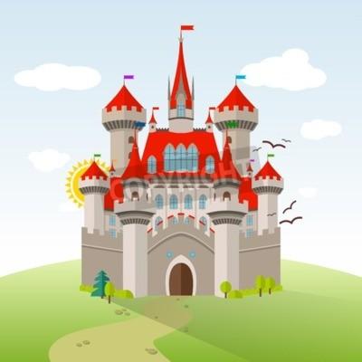 Poster Märchenschloss. Vektor Phantasie Kind Illustration. Flache Landschaft mit grünen Bäumen, Gras, Pfad, Steine und Wolken