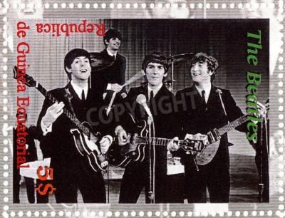 Poster REPUBLIK GUINEA ECUTORIAL � CIRCA 2003: The Beatles - 1980er berühmten musikalischen Pop-Gruppe.