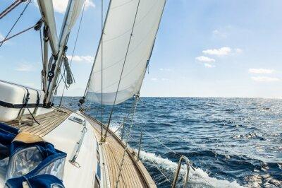 Poster Yacht Segel in den Atlantischen Ozean am sonnigen Tag Kreuzfahrt