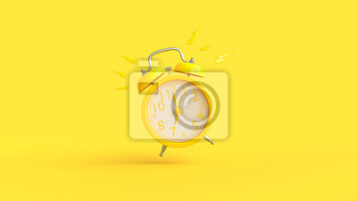 Poster Yellow alarm clock was ringing at 7.00.
