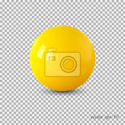 Poster Yellow realistic ball vector .Isolated sphere for advertising and lettering.