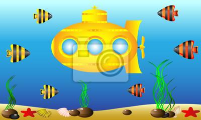 Yellow Submarine Unter Wasser Wandposter Poster Bullauge