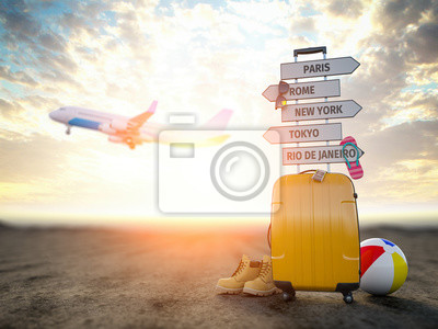 Poster Yellow suitcase and signpost with travel destination, airplane.Tourism and  travel concept background.