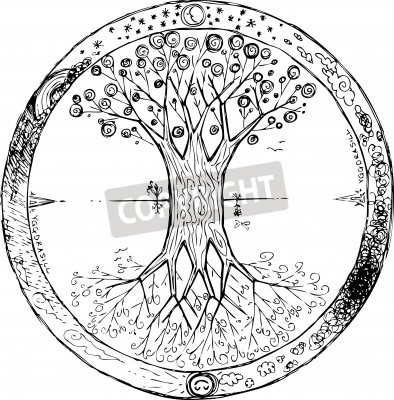 Poster Yggdrasil celtic tree of life mandala