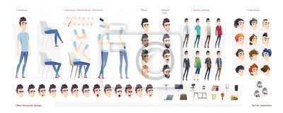 Poster Young man character for your print, web and motion design. Creation kit. Set of flat male cartoon character body parts.