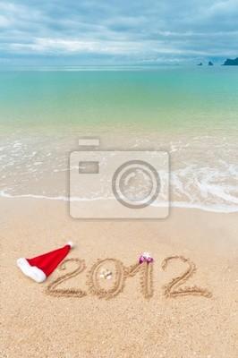 Zahlen 2012 auf Strand Sand - vertikale Hintergrund