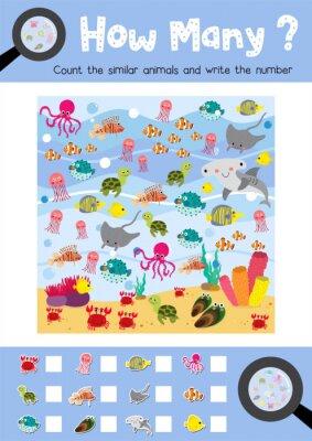 Zählen spiel von ozean tiere für vorschule kinder aktivität ...