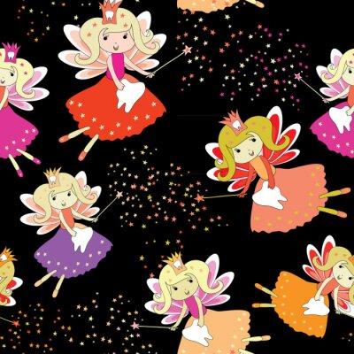Poster Zahnfeen mit Zauberstäben und Sternen herum. Nahtloses Muster. Vektor-Illustration auf schwarzem Hintergrund