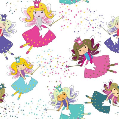 Poster Zahnfeen mit Zauberstäben und Sternen herum. Nahtloses Muster. Vektor-Illustration auf weißem Hintergrund