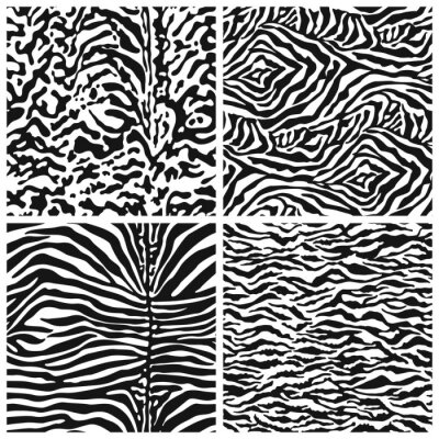 Zebra and tiger skin abstract fur vector seamless pattern in black and white