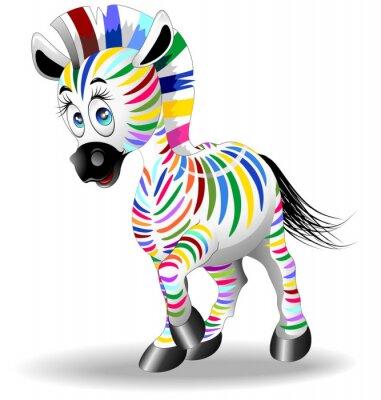 Poster Zebra Cartoon Quadricromia-Four Color Prozess Zebra-Vector