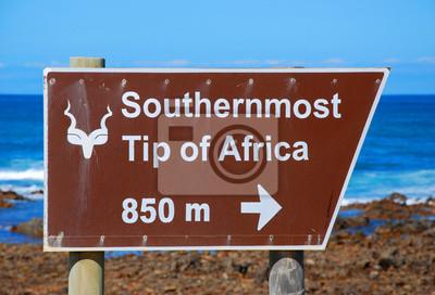Zeichen von Cape Agulhas (Südafrika): Der südlichste Punkt A