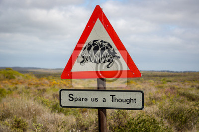 Zeichen Warnung über Schildkröte auf der Straße im Norden Südafrikas