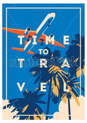 Poster Zeit zu reisen und Sommerferienplakat.