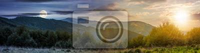 Poster Zeitänderungskonzept über den Karpaten.  Panorama mit Sonne und Mond am Himmel.  wunderschöne Landschaft mit bewaldeten Hügeln und Apetska Berg in der Ferne.