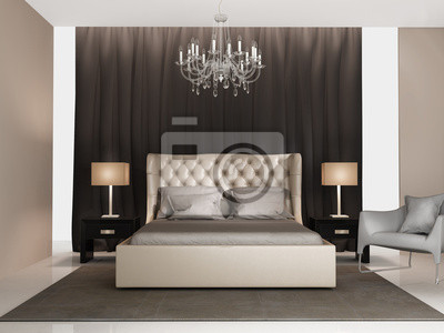 Zeitgenossische Eleganten Luxus Grau Beige Schlafzimmer Wandposter