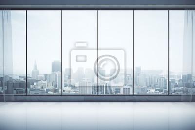 Poster Zeitgenössisches Interieur mit Blick auf die Stadt