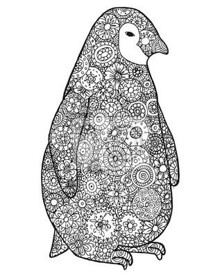 Zen Tangle Und Zen Doodle Pinguin Zentangle Tier