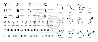 Poster Zodiac signs and constellations. Ritual astrology and horoscope symbols with stars planet symbols and Moon phases. Vector set pictogram elements constellation illustration for ancient alchemy