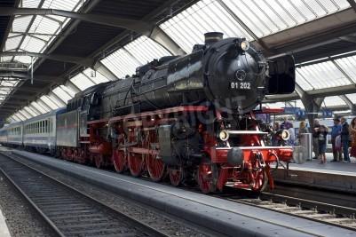 Poster Zürich, Schweiz - 4. Juni 2011: Ein Zug mit einem renovierten Pacific 01 202 Dampflokomotive ist bereit, ab Zürich Hauptbahnhof (Hauptbahnhof) fahren.