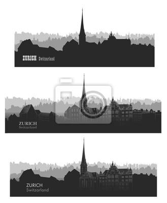 Zürich Schweiz Stadt Skyline Silhouette Reisen Europa Hintergrund gesetzt