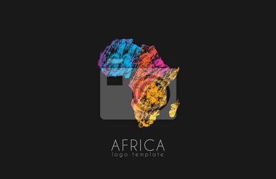 Poster Zusammenfassung afrika logo. Farbe Afrika Logo. Bunte Logo-Design.