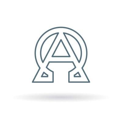 Poster Zusammenfassung Alpha-und Omega-Symbol. Anfangs- und Endzeichen. Griechischen Alpha-und Omega-Symbol. Alpha- und Omega-Logo. Thin line-Symbol auf weißem Hintergrund. Abbildung.