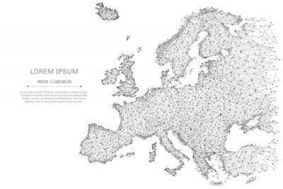 Poster Zusammenfassung Maische Linie und Punkt Europa Karte auf weißem Hintergrund mit einer Inschrift. Sternenhimmel oder Raum, bestehend aus Sternen und dem Universum. Vektor Welt Illustration