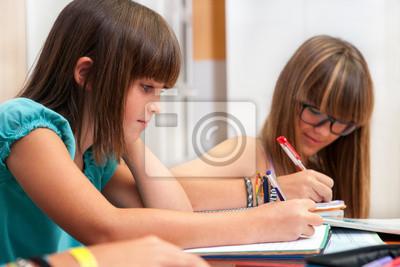 Zwei Jugendliche Hausaufgaben.