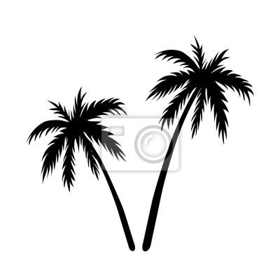 Zwei palmen skizze. schwarz kokosnussbaum silhouette, isoliert ...