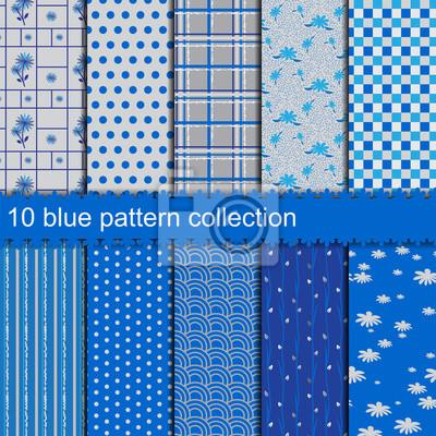 10 blaue Muster Sammlung