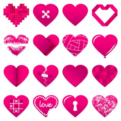 Sticker 16 Abstract Pink Hearts