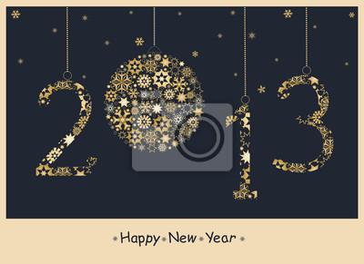 2013 guten Rutsch ins Neue Jahr Grußkarte aus goldenen Schneeflocken