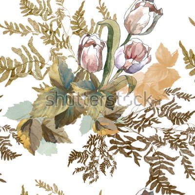 Sticker 3 weiße Tulpen und Grasaquarell auf nahtlosem Muster des weißen Hintergrundes für Gewebe, Papier