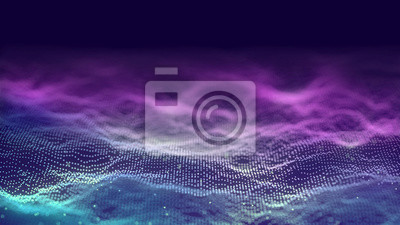 Sticker 3d abstract digital technology background. Futuristic sci-fi user interface concept with gradient dots and lines. Big data, artificial intelligence, music hud. Blockchain and cryptocurrency