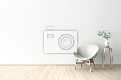 Sticker 3d darstellung der leeren wand weiß innenraum