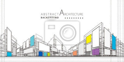 Sticker 3D illustration architecture building construction perspective design,abstract modern urban background.