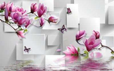 Sticker 3d illustration, light background, rectangles, butterflies, magnolia