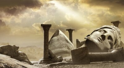 Sticker 3d render background illustration of ancient greek temple ruins with female goddess statue with clouds and sun ray.