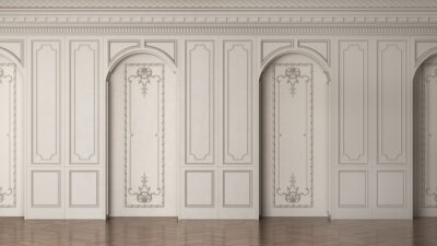 Sticker 3D render of a classic interior wall decorated in warm color with parquet and arched openings. 3d illustration