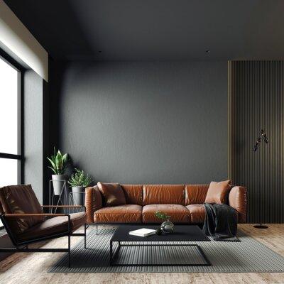 Sticker 3d render of beautiful interior with dark  gray walls