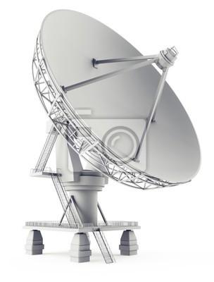 3d sattelite antena on the white
