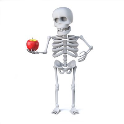 Sticker 3d Skeleton hat einen Apfel für Lehrer gebracht
