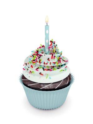 Sticker 3d sweet cupcake mit Kerze isoliert auf weiß