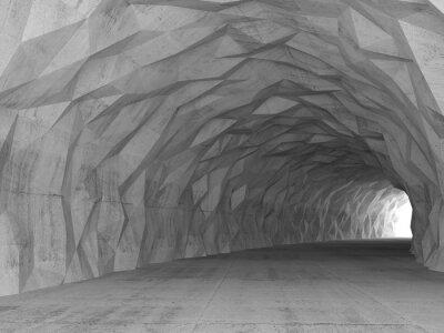 Sticker 3D Tunnel Innenraum mit chaotischen polygonalen Relief