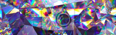 Sticker 3d übertragen, abstrakter Kristallhintergrund, schillernde Beschaffenheit, Makropanorama, facettierter Edelstein, breite panoramische polygonale Tapete