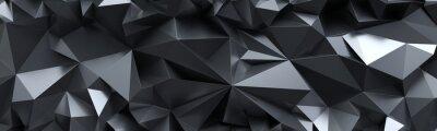 Sticker 3d übertragen, abstrakter schwarzer Kristallhintergrund, facettierte Beschaffenheit, Makropanorama, breite panoramische polygonale Tapete
