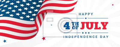 Sticker 4. Juli Banner Vektor-Illustration, USA-Flagge, die mit Sternen auf weißem Strahlenhintergrund winkt.