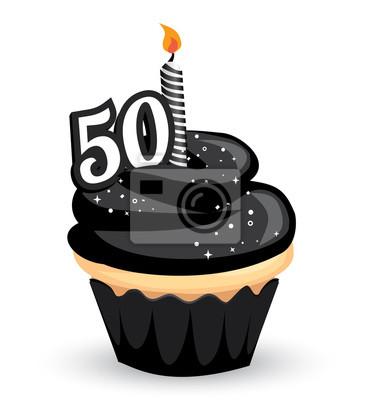 50 Geburtstag Clipart Cupcake Mit Glitzernden Schwarzen Glasur