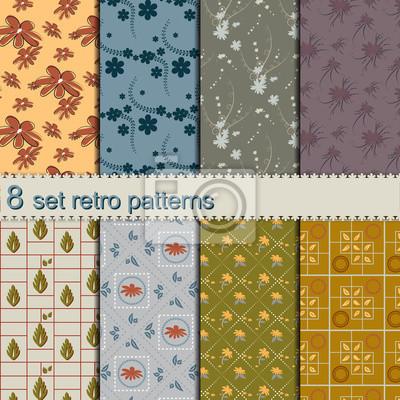 8 Satz nahtlose Retro-Blumenmuster Collection Wallpapers
